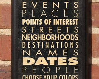 Personalized Custom List Wall Art Sign Plaque Home Decor Gift Present Anniversary Wedding Places Personal Locations Names Vintage Style