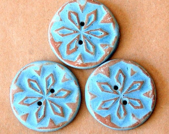 3 Handmade Stoneware Snowflake Buttons - Rustic buttons in a Brown and Blue