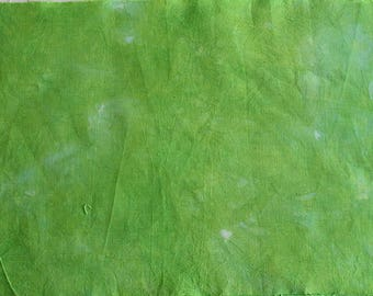 Green variegated hand-dyed cotton fabric for quilting and crafts
