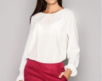 White blouse Office blouse Business woman blouse Chiffon blouse Clasic blouse Summer white blouse Party blouse