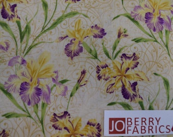 Iris from the Garden Rendezvous Collection  by Ro Gregg for Paintbrush Studio, Quilt and Craft Fabric, Fabric by the Yard.