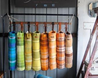 Yoga Mat Bags Repurposed Blanket  with Kangaroo Leather Strap & Label