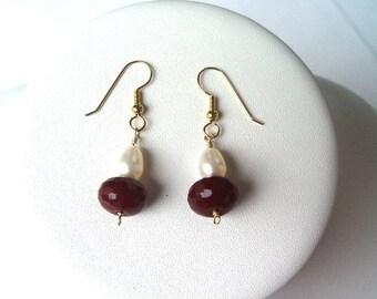 E677  Ruby Quartz & Pearl Earrings