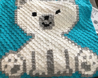 Polar Bear Cub baby/throw blanket handmade crochet