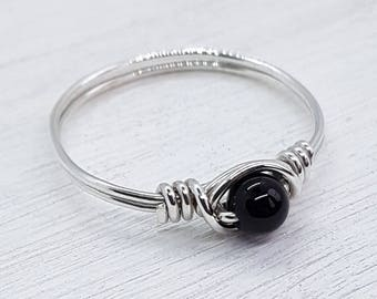 Onyx Sterling Silver Ring - 925 - Silver Ring - Sterling Silver Wire Wrapped Ring - Friendship Ring - Boho - Minimalist