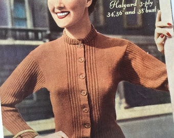 1950s knitting pattern, Lady's Jumper Cardigan, original 50s vintage knitting pattern