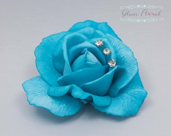 Turquoise Blue Rose Hair Clip with rhinestone sprays. Real Touch Flowers. Caroline Rose Collection