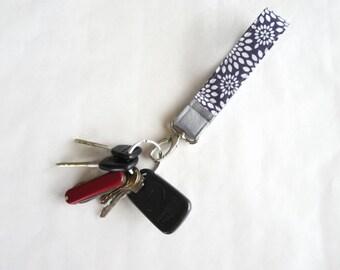 Fabric wristlet keychain key wristlet key fob teacher gift for her purple flowers with grey