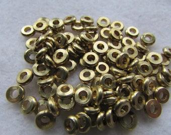 100 Beads ~ Large Hole Brass Beads, Brass Donut Beads, 5mm Metal Beads, Brass Spacer Beads, Hemp Beads, Brass Heishi, Wholesale Bead Lots