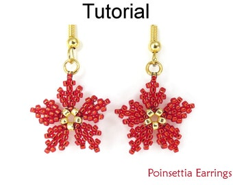 Beaded Christmas Earrings - Peyote Stitch Holiday Earrings - Jewelry Making Pattern - Simple Bead Patterns - Poinsettia Earrings #23605