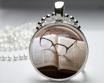 Book Worm Round Pendant Necklace with Silver Ball or Snake Chain Necklace or Key Ring