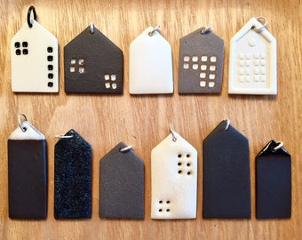 black or white porcelain little house pendant / ceramic jewelry / porcelain jewelry / minimalist / modern / simple / scandinavian /