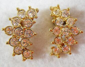 Vintage Gold & Rhinestone Pierced Earrings