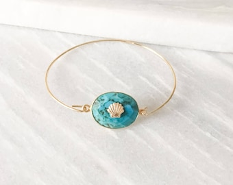 Turquoise stone and shell gold plated Bangle Bracelet
