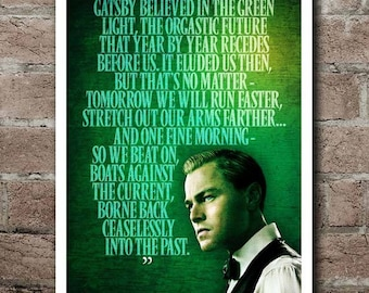 "The Great Gatsby ""GREEN LIGHT"" Quote Poster (12""x18"")"