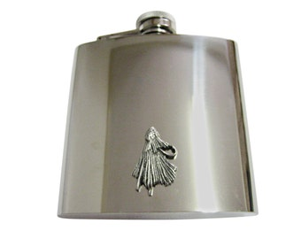Textured Fishing Fly 6 oz. Stainless Steel Flask