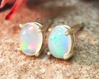 5x7MM Opal Stud Earrings | Prong Setting | Solid 14K Gold | Colored Stone Earrings | Fine Jewelry | Free Shipping