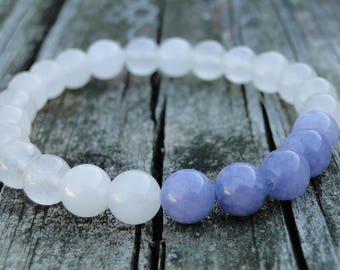 Tanzanite and White Quartz Gemstone Bracelet | Womens Bracelet | Mens Bracelet | Beaded Bracelet | Natural Gemstone | December Birthstone