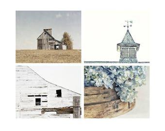 Wall Art Set of 4 , Rustic Farmhouse Wall Decor, Barn Art, Country Home Decor, Blue Hydrangeas, Weathervane Art