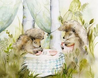 Art de hérisson - Forest Cafe - des-bois, hérisson d'archivage grande aquarelle impression