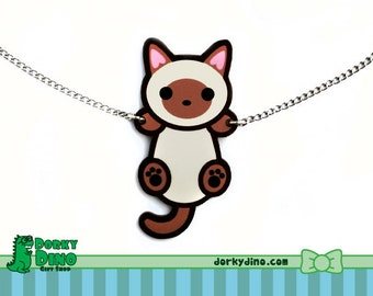 Hanging Cat Necklace: Siamese, Burmese, Tonkinese, Seal Point Climbing Kitten Pendant