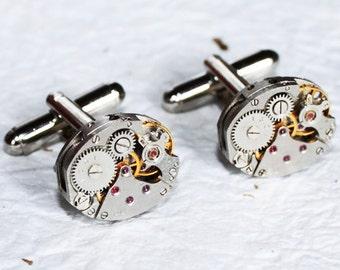 Steampunk Cufflinks - Russian PINSTRIPE Silver Vintage Watch Movement Men Steampunk Cufflinks Cuff Links Wedding Gift Men Fathers Day Gift