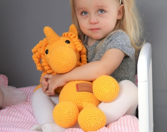 BIG XL Crocheted Yellow Unicorn Plush, Unicorn Amigurumi, Unicorn Stuffed Animal Toy, Unicorn Plushie, Unicorn Stuffed Toy, Unicorn Soft Toy