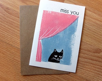 Miss You cat linocut letterpress card