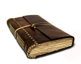 Large Faux Leather Journal or Sketchbook - Brown with decorative stitching