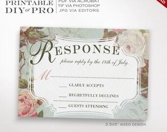 RSVP Wedding Template - Vintage Rose Wedding Response Card - Printable DIY French Country Wedding Editable Custom RSVP