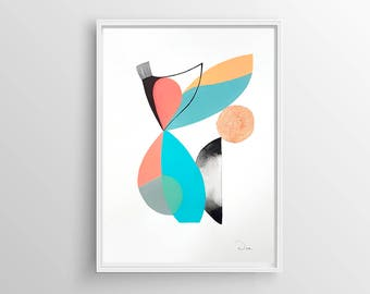 Abstract painting, geometric painting, modern art , wall decor, wall art, home decor, watercolor original, acrylic painting, copper