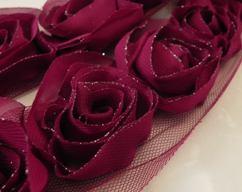 Chiffon and tulle rose trim, magenta,10 roses