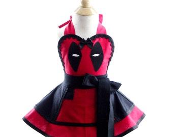 Children's Deadpool costume Apron - for kids - Cute Girls Sweet Villian Costume Apron for Kids Dress Up & Play