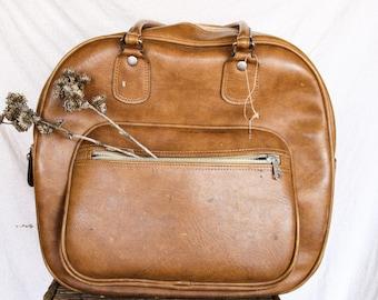 Vintage Distressed Leather Bowling Bag | Vintage Leather Carryon Bag
