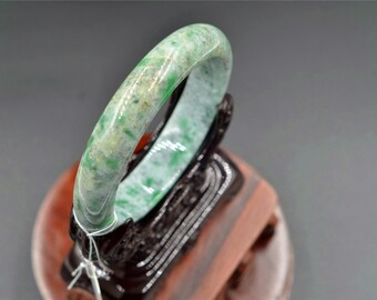 natural jadeite jade jewelry Translucent Light  white with green pattern Bangle Bracelet Myanmar jadeite 59mm