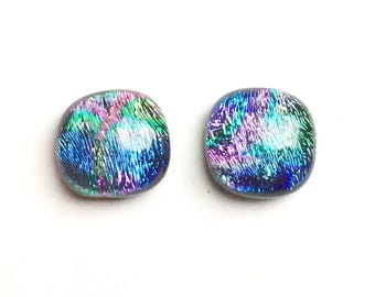 Dichroic Fused Glass Stud Earrings, 12mm Cabochons, Lavender, Purple, Pink, Blue, Turquoise, Chartreuse, Hypoallergenic Surgical Steel Posts
