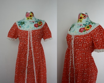 Franz of Salzburg Orange + White Calico Print 100% Cotton Boho Maxi Dress Eyelet Trim Vintage 1970s Womens M 34 Bust Hippie Summer Festival
