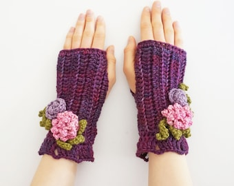 Peony Rose Arm Warmers in Purple, Pink, READY to SHIP as shown, other colours available on my other listings, floral hand warmers,