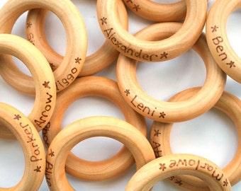 First Birthday Party Favors - Teething Ring Party Pack of 10 - Personalized Baby Gifts