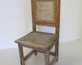 K Vintage Miniature wooden chair wall hanging shelf used fair condition jute woven seat and back