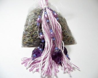 Lavender Closet Freshener with Purple and White Beaded Tassel