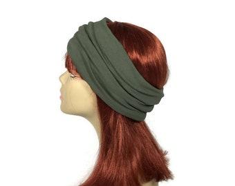 "Army Green 100% Cotton Jersey Head Wrap ""It Breathes"" Yoga Head Wrap Cotton Olive Green Headbands Workout Headband FREE SHIPPING/Custom Size"