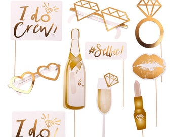 Gold Foiled Photo Booth Props - I Do Crew photo booth propsHen Night,Wedding Venue,Party,Selfie