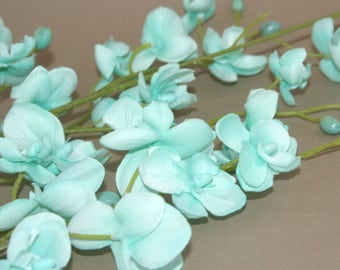 Mint or Light Blue Mini Phalaenopsis Orchid Branch - silk flowers- artificial flowers - PRE-ORDER