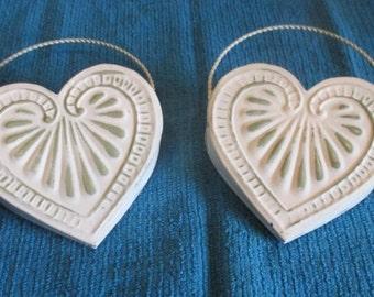 Lot of 2 Vintage Metal Heart Shaped Hanging Baskets