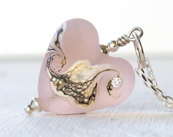 Pink Heart Pendant Lampwork Glass & Sterling Silver Necklaces For Women,
