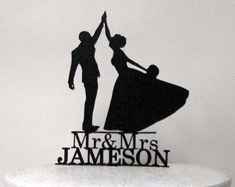 Personalized Wedding Cake Topper - High Five with Mr & Mrs last name