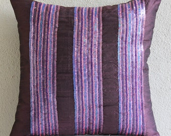 Decorative Throw Pillow Covers Accent Pillows Couch Pillows 20 Inch Silk Dupion Pillow Cover Embroidered Sequins - Plum Sparkle