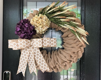 Burlap Wreath beige burlap monogrammed  with floral wreath; Everyday Wreath