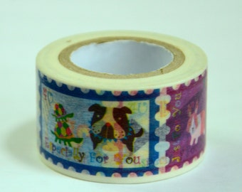 1 Roll of Japanese  Washi Masking Paper Tape- Animal Postal Stamps